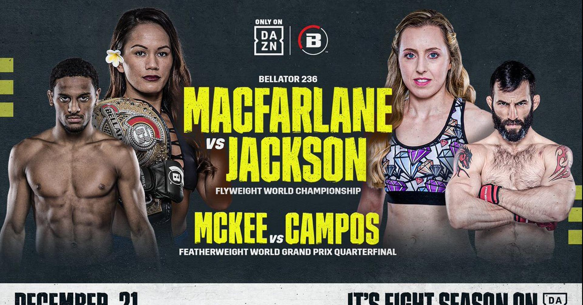 Bellator 236 MacFarlane vs Jackson - La Fight Card Completa